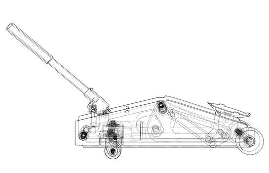 Hydraulic floor jack outline. 3d illustration