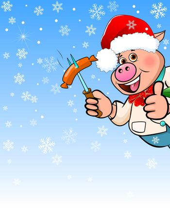 Cartoon pig in a hat Santa Claus holding a sausage barbecue in his hand