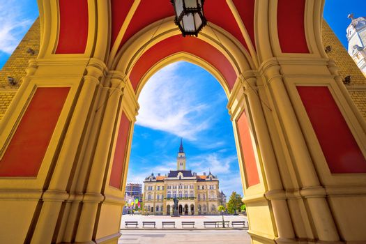 Freedom square in Novi Sad arches and architecture view, Vojvodina region of Serbia