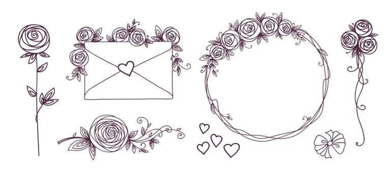 Set of floral design elements. Flower branch wreaths heart. Roses flowers. Wedding birthday valentines day concept