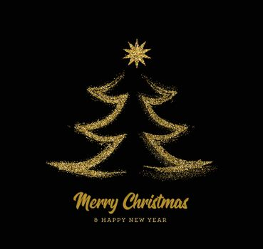 Silhouette of a Christmas tree in the form of gold sparkles on a black background. Vector