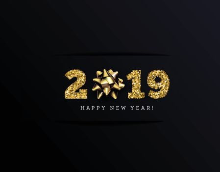 Congratulations on the 2019 happy new year. Holiday Gifts. Vector illustration with golden ribbons