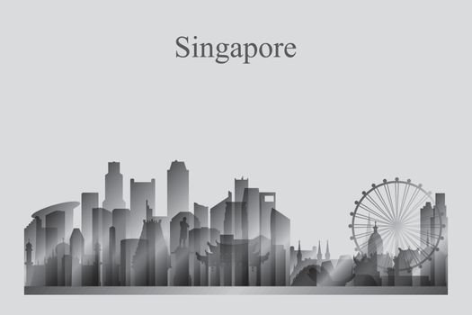 Singapore city skyline silhouette in grayscale