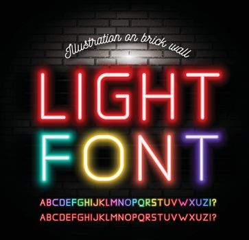 Light neon fonts on brick wall background. Vector