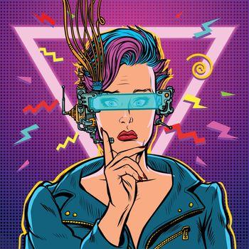 thinker vr glasses woman gamer virtual reality online. 80s girl