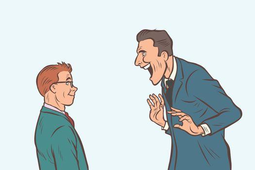 Joyful meeting boss and businessman