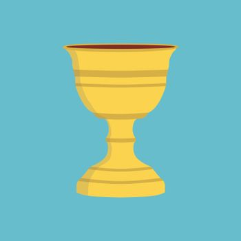 Chalice flat design icon with blue background