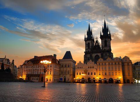 Prague square at sunrise