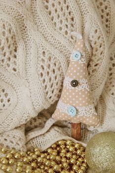 textile handmade toy fir tree for Christmas. Photo