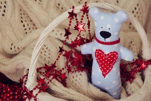 Handmade Teddy bear for Valentine day. photo