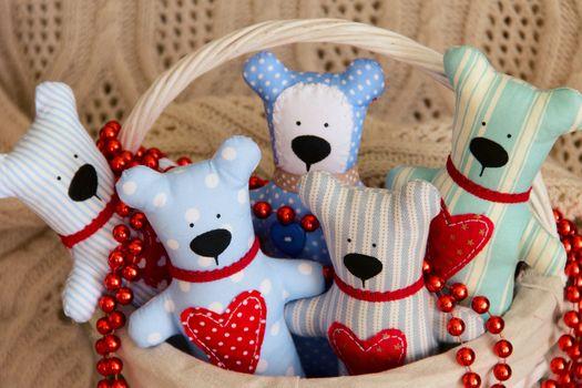 Handmade five Teddy bear for Valentine day. photo
