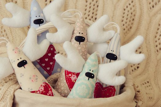 Handmade five deer for Christmas or Valentine day. photo