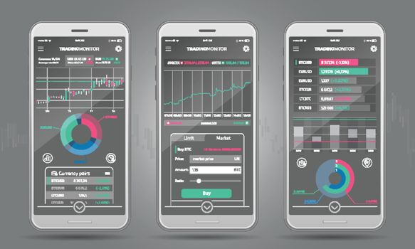 Trading Platform Interface With Infographic Elements