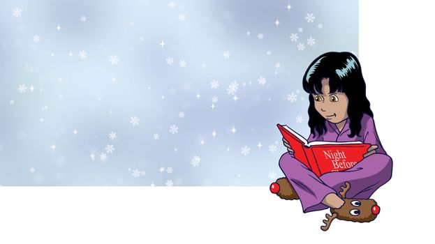 A Young girl reading the night before christmas story