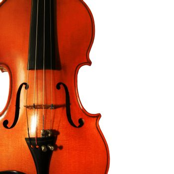 1937 old violin on the white background