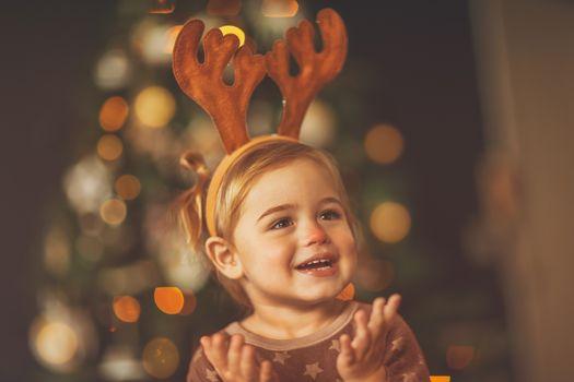 Happy baby on Christmas eve