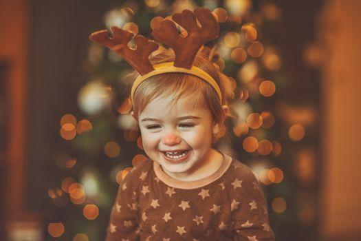Happy baby celebrating Christmas