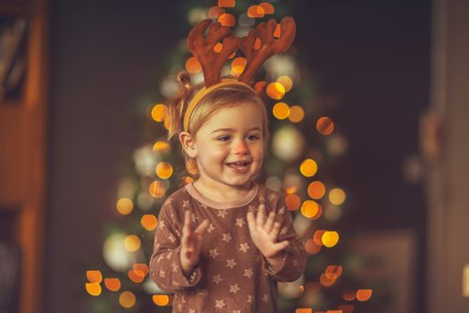 Happy child on Christmas party