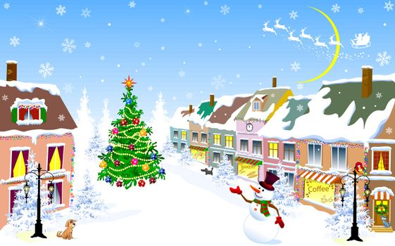 City street in the winter Christmas night. Snowman welcome. Santa Claus on a sleigh with reindeer. Christmas tree. Houses covered with snow. Winter night on Christmas Eve.