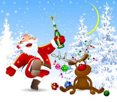 Santa Claus with a bottle in his hand. A deer decorated with Christmas balls, a garland of lights and a bow. Winter forest.