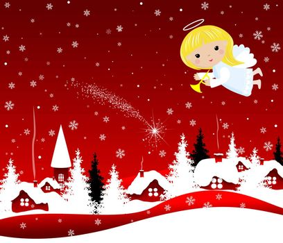 Christmas angel flies in the night sky over the village and trees. Angel on a red winter background with snowflakes.
