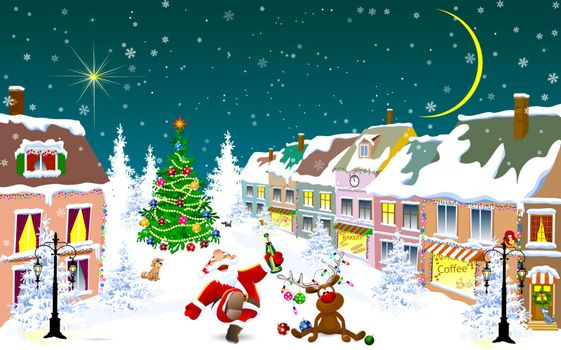 City street in the winter Christmas night. Santa and deer happily greet Christmas.  Christmas tree. Houses covered with snow. Winter night on Christmas Eve.