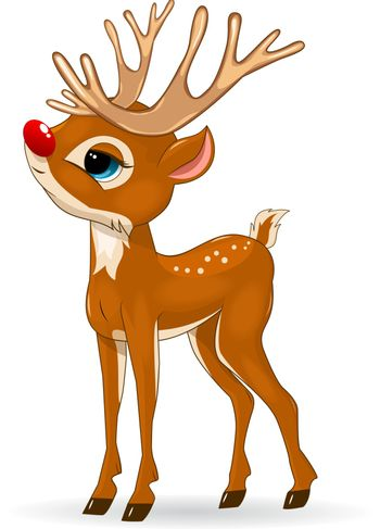 Little cartoon deer on a white background. Deer baby with a red nose.