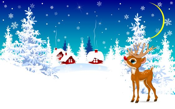 Cartoon deer on a winter background.  Deer on the background of a winter forest and a snow-covered village.