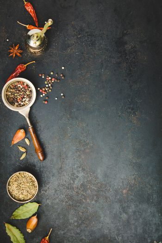 Spices and vintage pepper grinder
