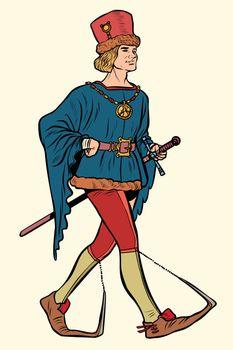 Poulaines worn, medieval man 15th century