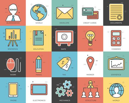 Line icons set of business collection concept. Modern vector pictogram with flat design elements