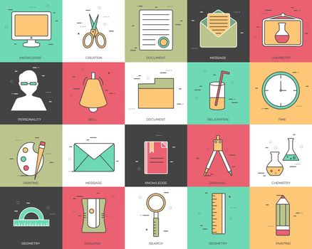 Line icons set of office collection concept. Modern vector pictogram with flat design elements