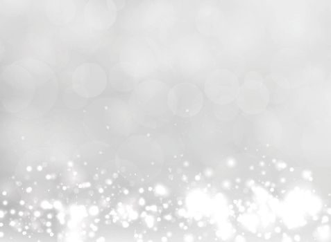 Abstract white and gray blurred light background with bokeh and glitter effect. Vector illustration