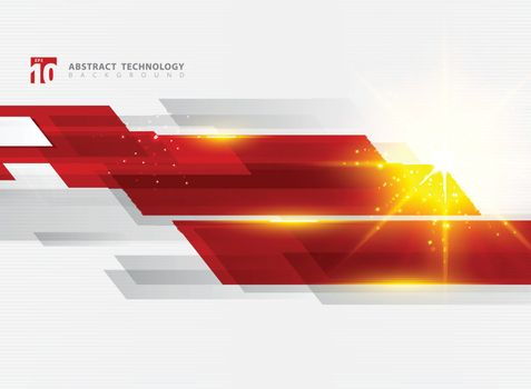Abstract technology geometric red color shiny motion background