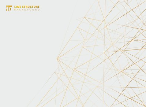 Abstract overlap gold lines structure on white background. Vector illustration