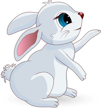 Cartoon character. Light gray bunny on a white background.