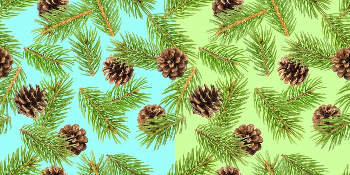 Fir tree branches seamless pattern, pine branch, Christmas conifer background