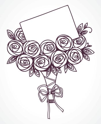 Bouquet of roses with message card. Hand drawing outline flowers as gift with letter