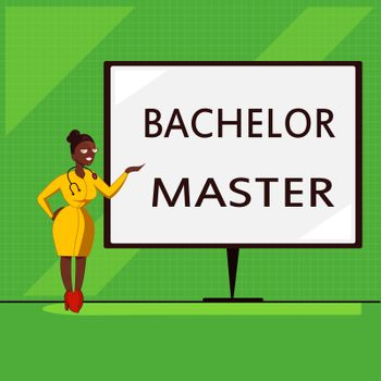 Conceptual hand writing showing Bachelor Master. Business photo showcasing An advanced degree completed after bachelor's degree