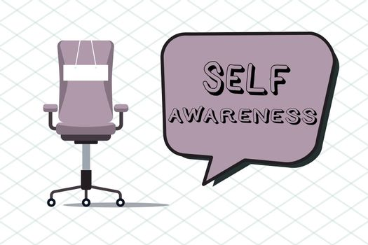 Handwriting text Self Awareness. Concept meaning Consciousness of a person towards a situation or happenings.