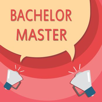 Handwriting text writing Bachelor Master. Concept meaning An advanced degree completed after bachelor's degree