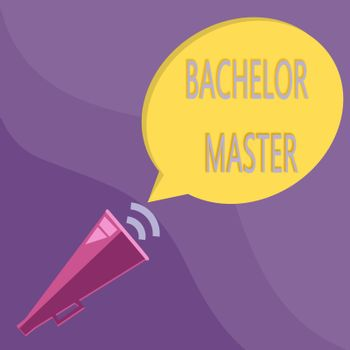 Text sign showing Bachelor Master. Conceptual photo An advanced degree completed after bachelor's degree