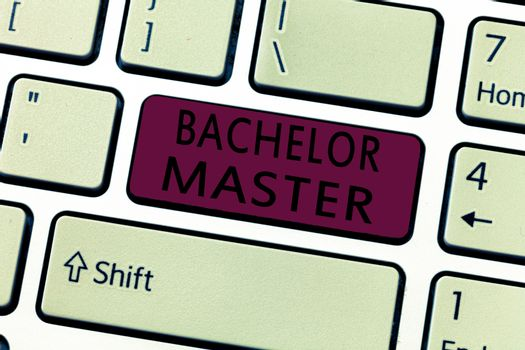 Word writing text Bachelor Master. Business concept for An advanced degree completed after bachelor's degree
