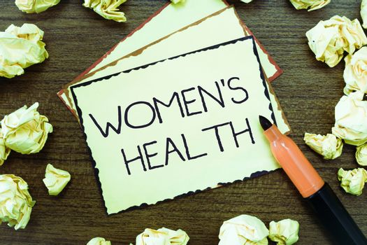 Word writing text Women s is Health. Business concept for Women's physical health consequence avoiding illness.