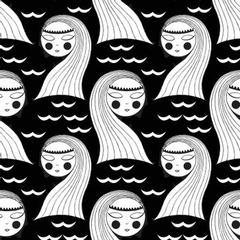 seamless background with a mermaid. black and white. vector