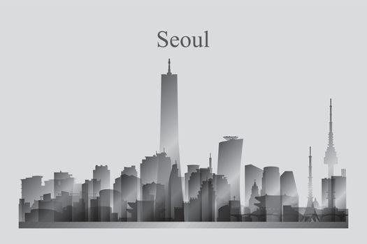 Seoul city skyline silhouette in grayscale