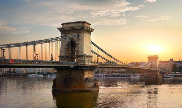 Chain Bridge and sun