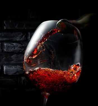 Wine on background of bricks