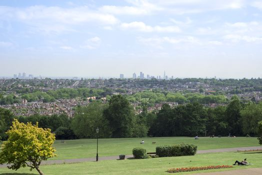 view of london city from alexandra palace grounds