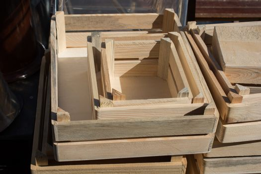 Wooden empty crate box for sale in a market